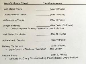 Homily Score Sheet - 1